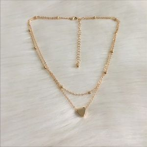 Jewelry - gold heart double multi necklace chain little